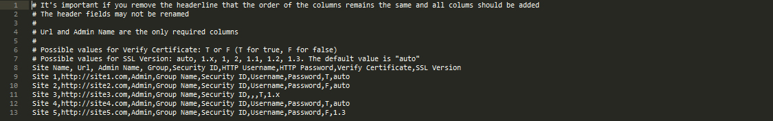 Sample CSV Code