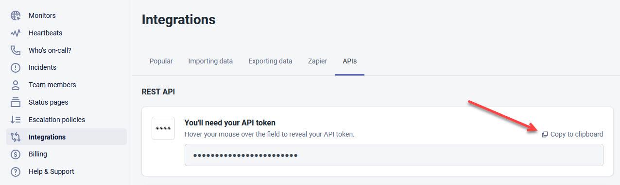 Better Uptime REST API token